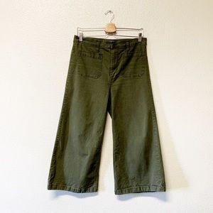J. Crew Point Sur Olive Wide Leg Cropped Pants